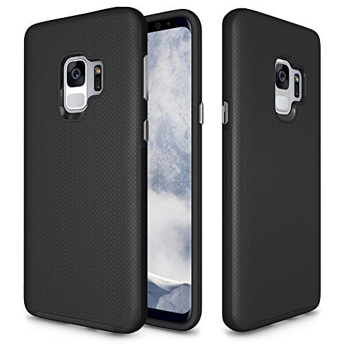 Samsung Galaxy S9 Case, GSDCB Air Cushion Armor Heavy Duty Shockproof Phone Protective Case with Hard PC Back Cover and Soft Flexible TPU Dual Layer Protection for Women Men Girls Kids Boys (Black)
