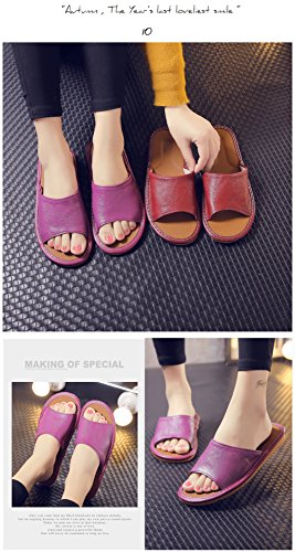 Anti Smelly Corium Autumn Slippers for Wooden Spring Men Floor Leather W Women Cowhide TELLW Vin Rouge Summer SqY00