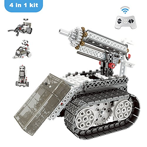 Goodayeah Remote Control Building Blocks 4-in-1 RC Robotic Kit Motorized Construction Vechicles Space Robots Toy Birthday Gift for Boys & Kids(254 Pieces)