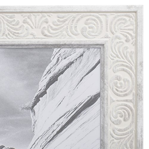 4x6 Picture Frame Distressed White - Mount Desktop Display, Frames by EcoHome Victorian Wood Picture Frame