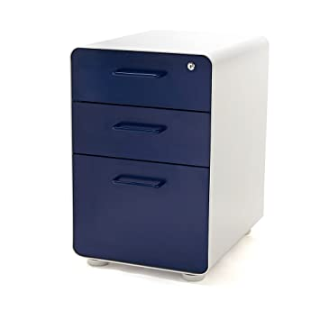 Amazon.com : Poppin White + Navy Stow 3-Drawer File Cabinet ...