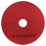 3M Red Buffer Pad 5100, 20' Floor Buffer, Machine Use (Case of 5)