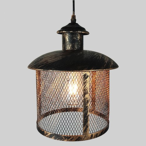 Industrial Mesh Cage Chandelier, Motent Retro Steampunk Black Iron Dome Bar Pendant LIght Creative Net Ceiling Lamp Shade for Kitchen Resturant Office - 11.8 inches Dia by MOTENT