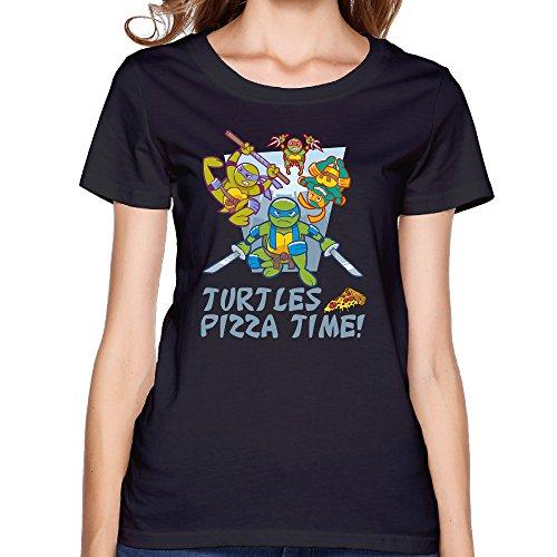 Texhood Women's TURTLES FAMILY Black Tshirts SizeXLO-Neck (Crock Pot Junior)