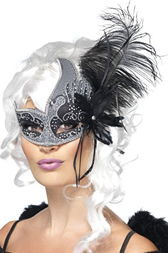 Smiffy's Women's Masquerade Eye mask, Silver & Black with Feather, Dark Angel, One size, (Costumes With Masquerade Masks For Halloween)