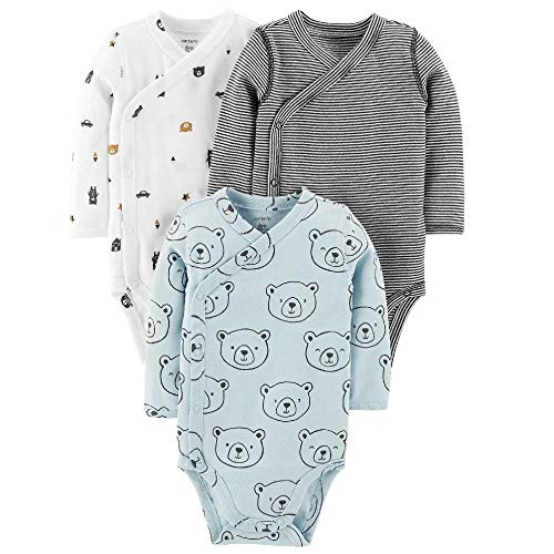 Carter's Baby Boys' 3-Pack Side-Snap Bodysuits (9 Months, Mint/Bear)