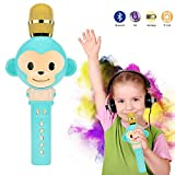 Wireless Bluetooth Karaoke Microphone for kids Portable Handheld Karaoke Machine Speaker toys Gifts Singing Recording Home KTV Party iPhone Android PC or All Smartphone (Blue)