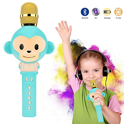 Microphone for Kids Children Karaoke Microphone Bluetooth Wireless Microphone Portable Handheld Karaoke Machine Toys Gifts Singing Recording Home KTV Party iPhone Android PC Smartphone (Blue)