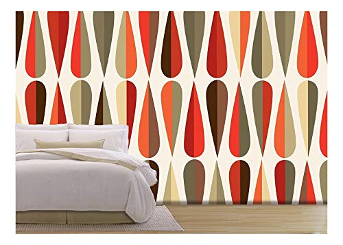 wall26 - Vector - Mid-Century Modern Style Retro Seamless Pattern with Drop Shapes in Tones - Removable Wall Mural | Self-Adhesive Large Wallpaper - 66x96 ()
