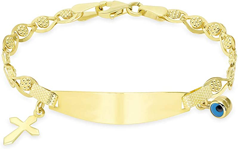 14kt Yellow Gold Engravable ID Bracelet Rolo Chain
