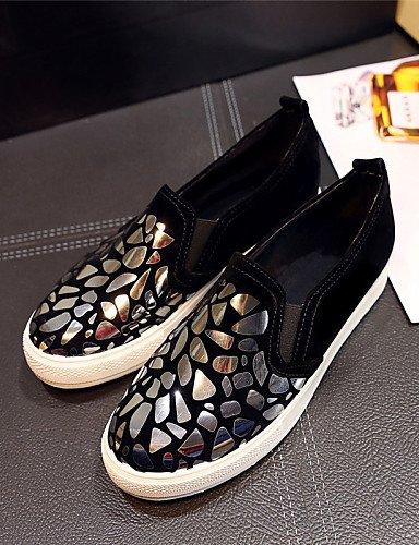 ZQ gyht Zapatos de mujer - Plataforma - Plataforma / Creepers - Mocasines - Exterior / Vestido / Casual - Semicuero - Negro / Blanco / Oro , golden-us11 / eu43 / uk9 / cn44 , golden-us11 / eu43 / uk9 golden-us8.5 / eu39 / uk6.5 / cn40