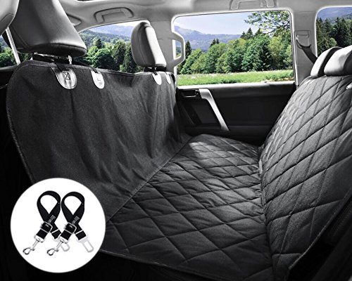 Dog Seat Covers, 600D Waterproof Pet Car Seat Covers with 2 Dog Seat Belts & Pocket - Nonslip Back Seat Cover Dog Hammock Convertible Extra Side Flaps Best for Cars Trucks Suvs ¡­