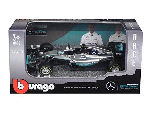 (Bburago Mercedes AMG Petronas F1 W07#6 Hybrid Nico Rosberg F1 Formula 1 Car 1/43 Diecast Model Car by 38026NR)