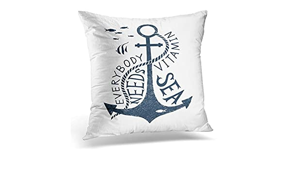 amazon com tomkeys throw pillow cover nautical label with anchor