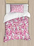 Ambesonne Anime Duvet Cover Set Twin Size, Funny Kawaii Illustration with Rabbits Funky Cute Animals Bunnies Kids Humor Print, Decorative 2 Piece Bedding Set with 1 Pillow Sham, White Pink