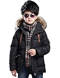 Big Boy's Winter Cotton Hooded Parka Outwear Coat With Faux Fur Trim