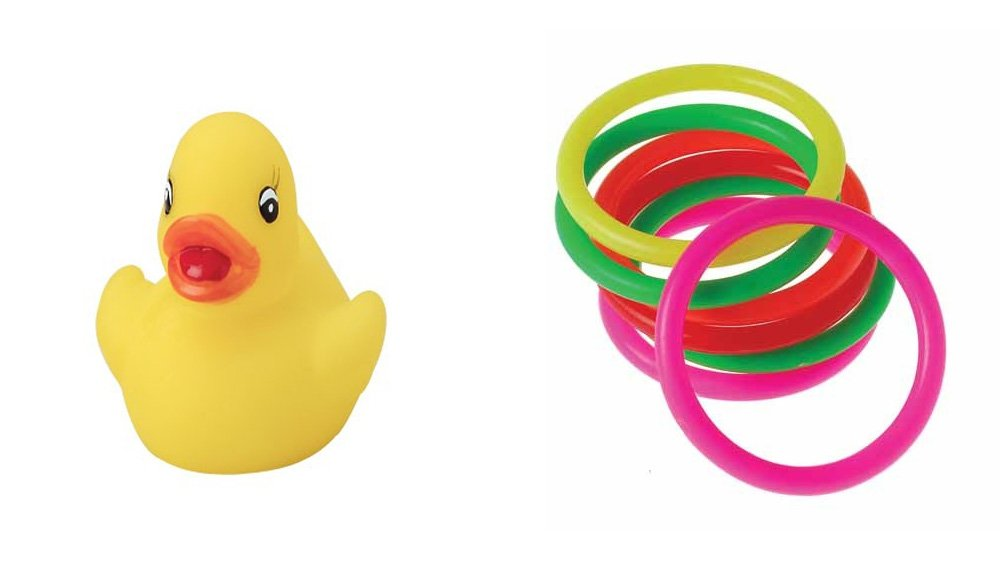 Carnival Rings Rubber Duckie Toy Party Favor Supplies 24 Piece Set for 12 Bundle