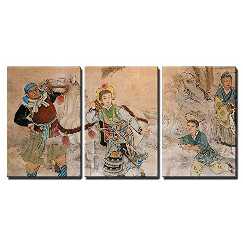 - wall26 - 3 Piece Canvas Wall Art - Chinese Classic Wall Drawing - Modern Home Decor Stretched and Framed Ready to Hang - 16