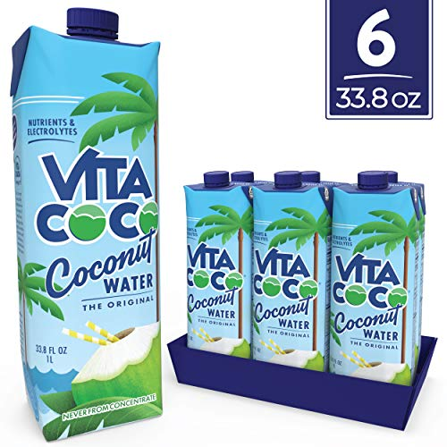 Vita Coco Coconut Water, Pure Original | Naturally Hydrating Electrolyte Drink | Smart Alternative to Coffee, Soda, and Sports Drinks | Gluten Free | 33.8 Ounce (Pack of 6)