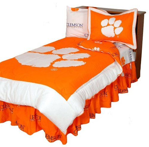 Clemson Tigers Shower Curtain - Clemson Tigers (3) Piece KING Size Reversible Comforter Set and Matching Shower Curtain Cover - Entire Set Includes: (1) KING Size Reversible Comforter, (2) Pillow Shams and (1) Shower Curtain Cover