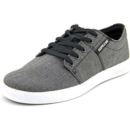 Black And White Herringbone (Supra Men's Stacks II Black Herringbone/White Ankle-High Suede Fashion Sneaker - 8M)