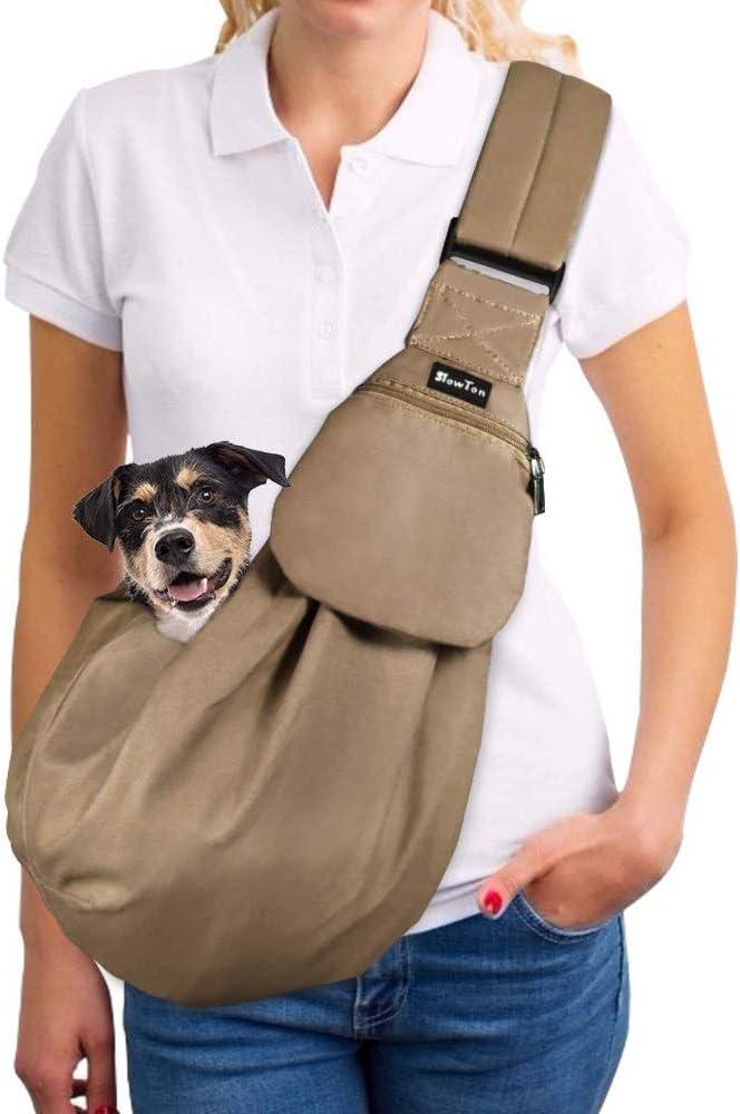 SlowTon Transportín para Perros Pet Carrier Dog Cat Hand Sling Carrier Bandolera Correa de Hombro Acolchada Ajustable Tote Bag con Bolsillo Delantero Outdoor Travel Puppy Carrier (Marrón)
