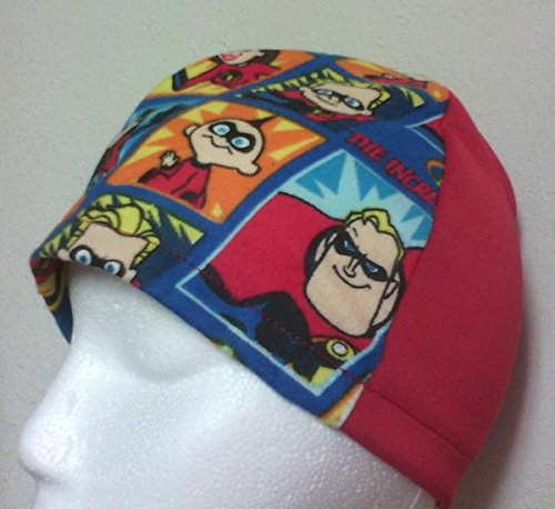 Red/The Incredibles Beanie Hat Cap Scrub Cancer Chemo Head Cover from Craft and Sewing Box