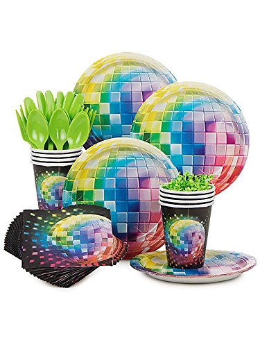[Costume Supercenter BBKIT809 70s Disco Fever Birthday Party Standard Tableware Kit] (Disco Theme Costumes)