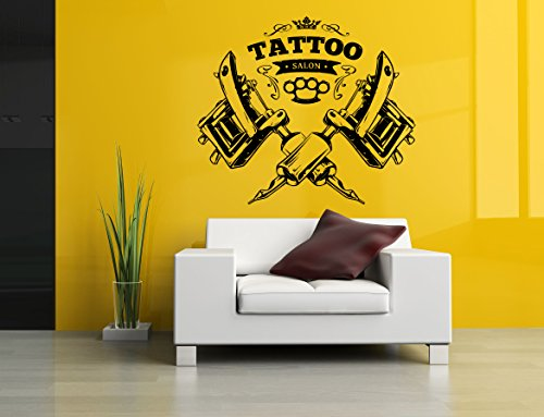 Tattoo Gun Machine Salon Logo Sign Studio Indoor Outdoor Business Ink Inked Wall Decor Poster SA1121 ()