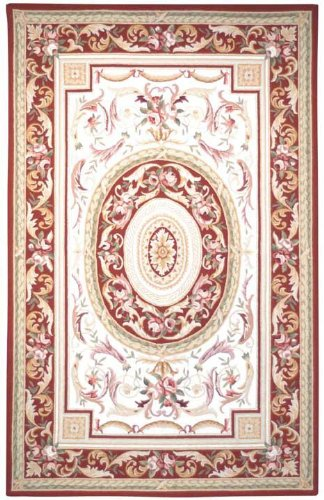 (Safavieh Chelsea Collection HK72A Hand-Hooked Ivory and Burgundy Premium Wool Round Area Rug (3' Diameter))