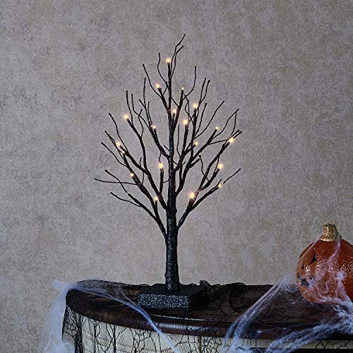 Hairui Small Artificial Black Glitter Tree Lights 24 Warm White LED 18in for Gothic Party Church Tabletop Centerpiece Pre Lit Sparkle Spooky Twig Tree with Lights for Halloween Decoration