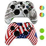 xbox game remote - LZETC(TM)Silicone Cover for Xbox One Remote - 2 Pack Combo for Microsoft Xbox 1 Wireless Gamepad Flag
