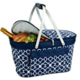 Picnic at Ascot Trellis Blue Collapsible Insulated Basket