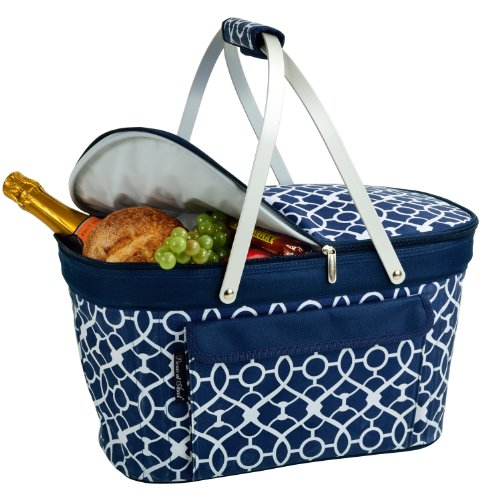 Picnic at Ascot Large Family Size Insulated Folding Collapsible Picnic Basket Cooler with Sewn in Frame - Trellis Blue ()