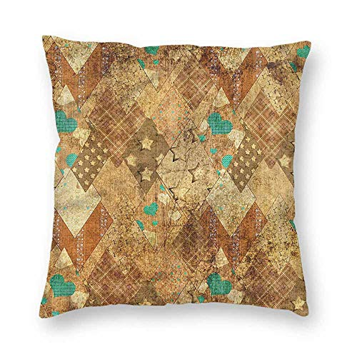 - Mannwarehouse Abstract Polyester Pillowcase Overlapped Diamond Shapes Suitable for Hair and Skin healthW22 x L22