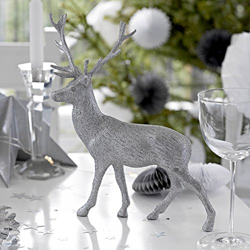 Talking Tables Party Glitter Reindeer Table Centerpiece, Party Porcelain Range, Silver (Reindeer Glitter Silver)