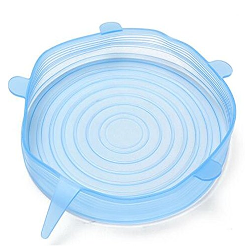 6 pcs/set Lid-Bowl Pan Silicone Cover Universal Cooking Pot Lid-Silicon Stretch Silicone Suction Lids Kitchen Pan Spill Lid Stopper Cover (6 pcs/set Blue)