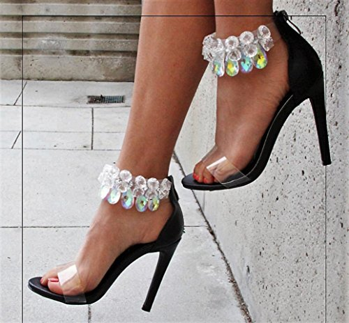 Suzzy Chandelier Cape Black Sandal Robbin Black Ankle Stiletto Satin Strap 54 Rhinestone Crystal Heel qZp15pR