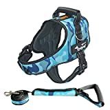 Ondoing Dog Harness Adjustable Pet Vest Harness No Pull Padded Reflective With Leash (L, Camo Blue)