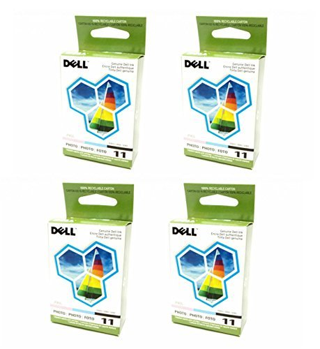 4-LOT Bulk Genuine Dell Series 11 Photo JP455, DX518 Standard Ink Cartridge For Printer Models 948, V505, V505w (Dell V505w)
