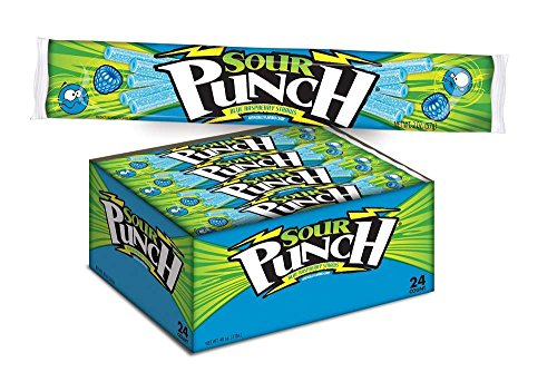 Sour Punch Blue Raspberry Sour Straws, 2oz Tray (24 (Sour Punch Straws)