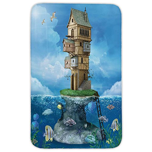 Rectangular Area Rug Mat Rug,Cartoon,Fantasy Fisherman House Fairytale Underwater Life Fishes Coral Cloudy Sky,Blue Brown Green,Home Decor Mat with Non Slip Backing by iPrint