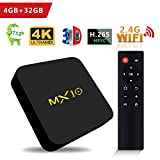 SCS ETC Android TV Box - MX10 Android 7.1 TV Box 4GB + 32GB with Rockchip RK3328 Quad-Core 64 Bits Support 2.4G Wifi 100M LAN 3D 4K HDR Smart TV Box