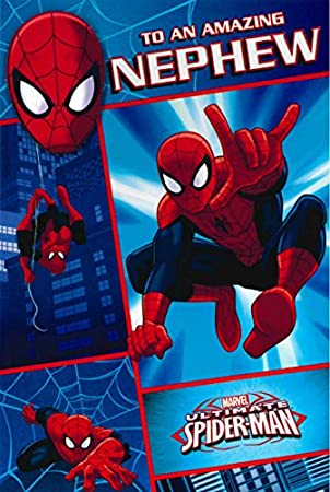 Marvel Spider Man Birthday Card Nephew Free Badge 418596 Amazon
