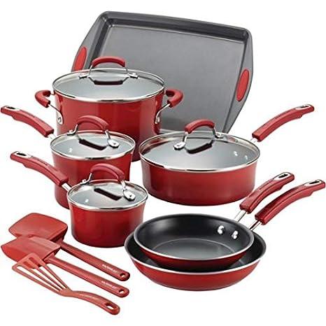 Alimentos Red - Rachael Ray batería de cocina Premium antiadherente duro porcelana esmalte batería de cocina (12 piezas, color rojo, tapa de cristal: ...