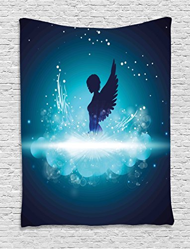 Angel Fantasy Art - Ambesonne Blue Tapestry, Fantasy Mythology Themed Artwork with a Angel Woman Silhouette Wings Bubbles, Wall Hanging for Bedroom Living Room Dorm, 40WX60L Inches, Dark Blue Light Blue