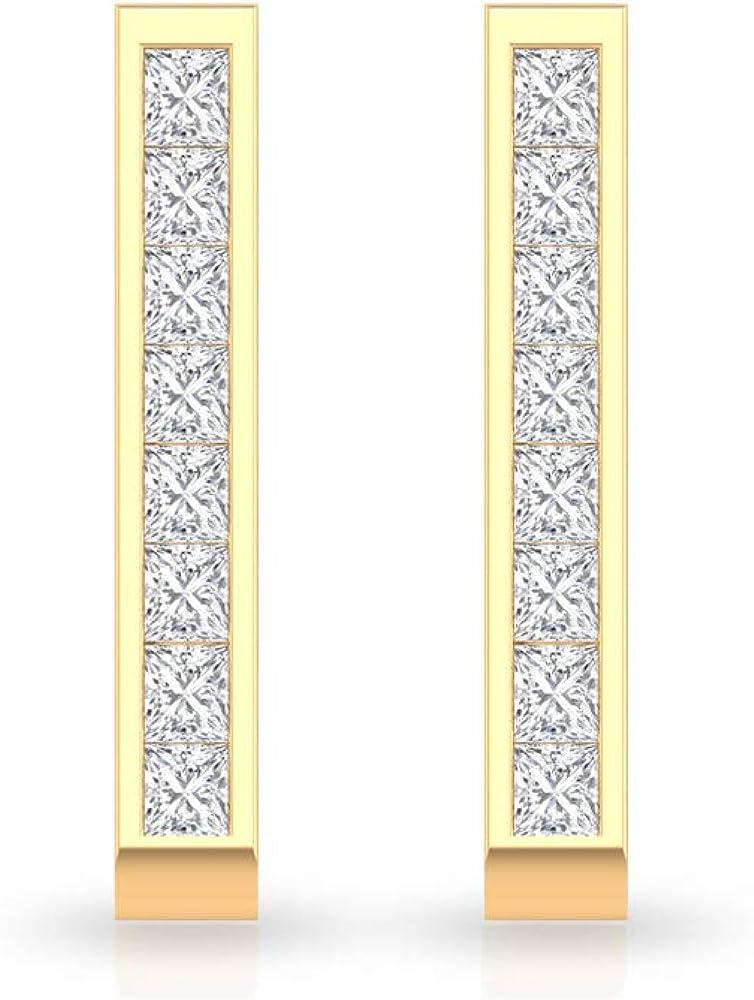 Pendientes de diamante con certificado IGI de 0,48 quilates, minimalista cuadrado, declaración de dama de honor, IJ-SI claridad de color, pendientes de boda de diamantes, con clip.