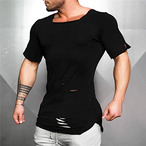 Amazon.com: MOSERIAN Mens Shirt Fashion Ripped U Neck Tight T-Shirt Stretch Short Sleeve Shirt: Clothing