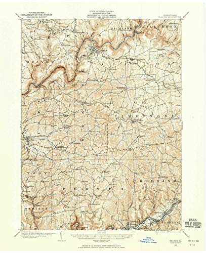 - YellowMaps Clarion PA topo map, 1:62500 Scale, 15 X 15 Minute, Historical, 1906, Updated 1959, 21 x 17.1 in - Paper