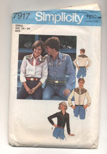 Vintage 1970s Simplicity Mens Western Shirt Sewing Pattern with Yoke # 7917